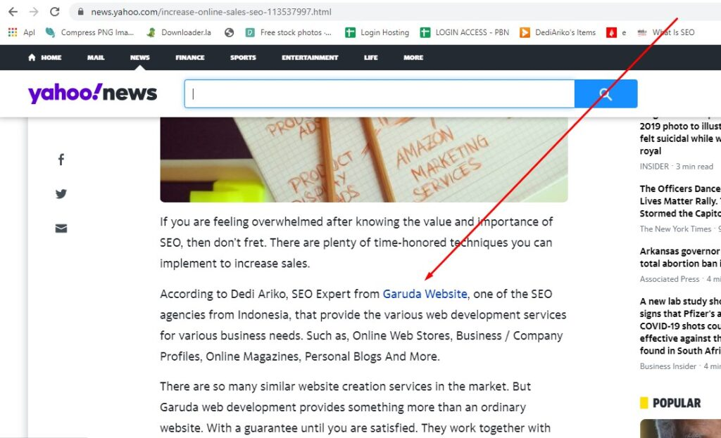 Backlink dari Yahoo